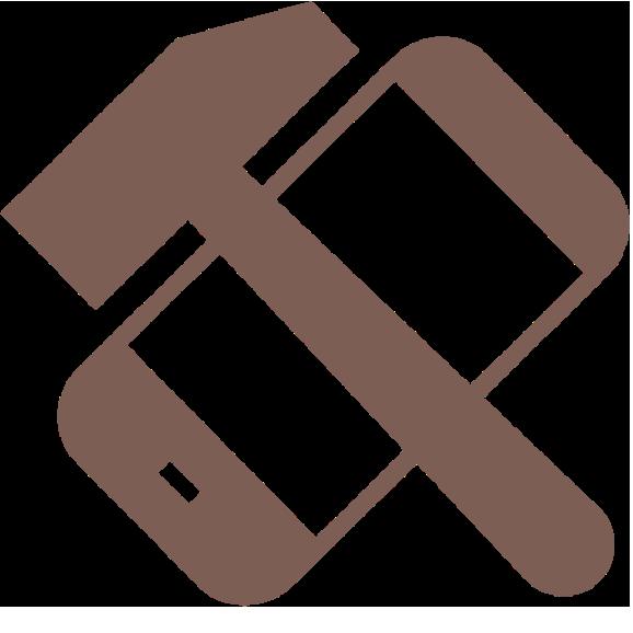 Brun ikon med hammer og mobiltelefon